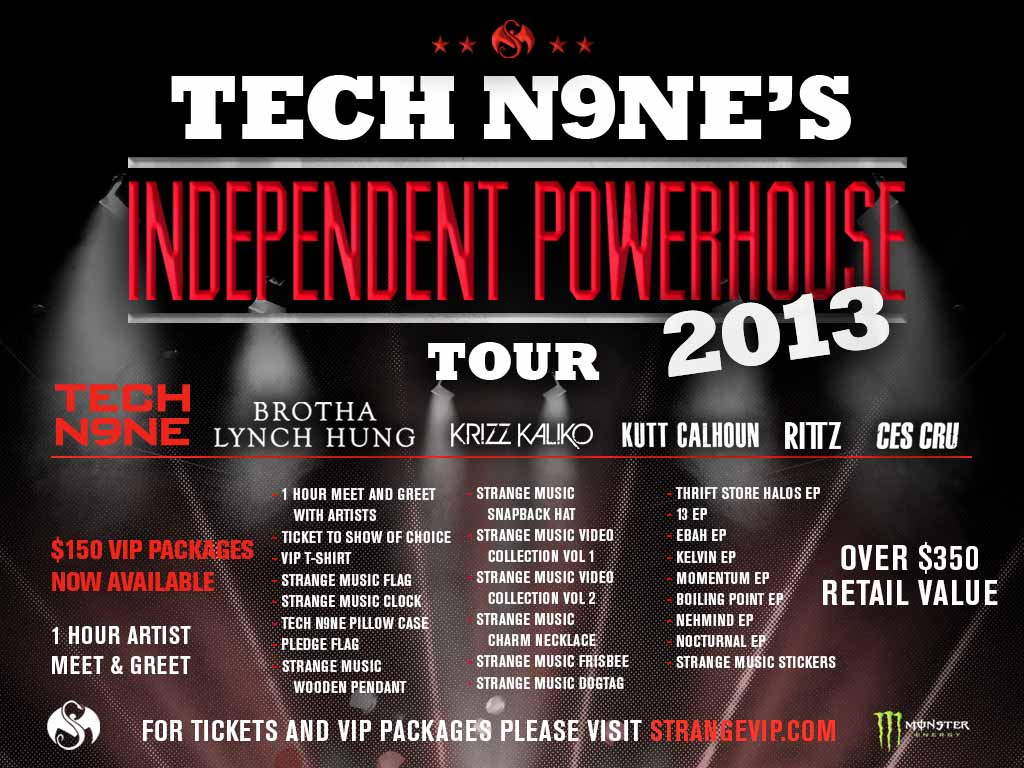 Tech N9ne's Independent Powerhouse Tour 2013 - Tour Graphic